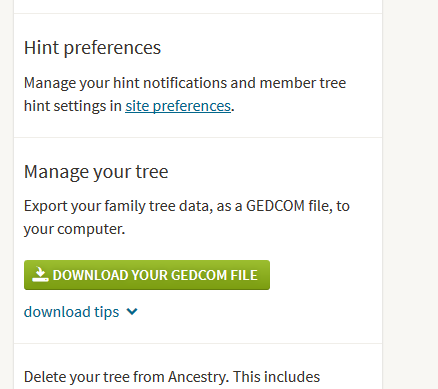 how to download gedcom file of tree on ancestry