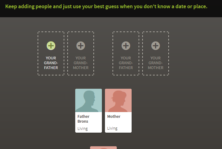 Adding grandparents on Ancestry