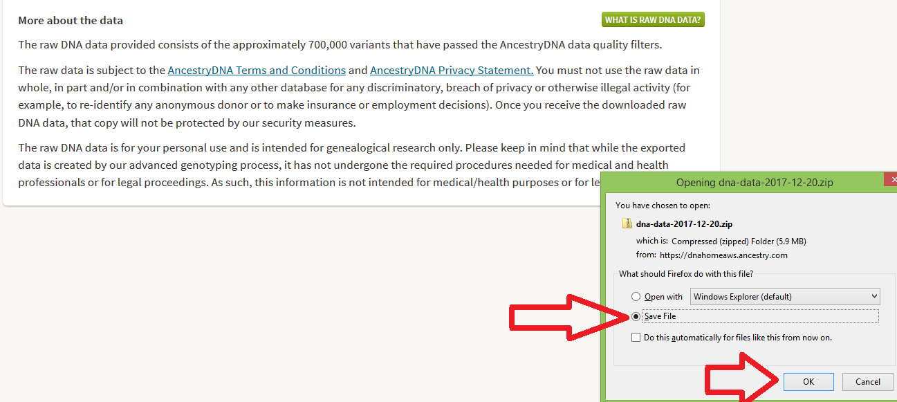 How to save Ancestry DNA data to my computer