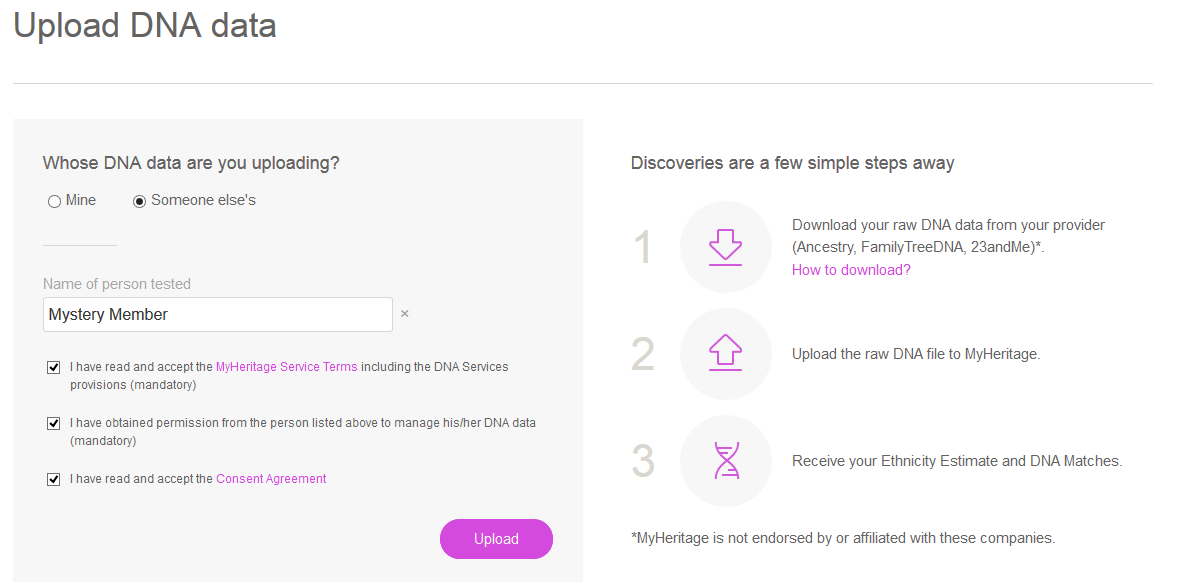 how to upload someone else's dna to my heritage dna on my account