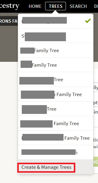 How to add create a new tree on Ancestry