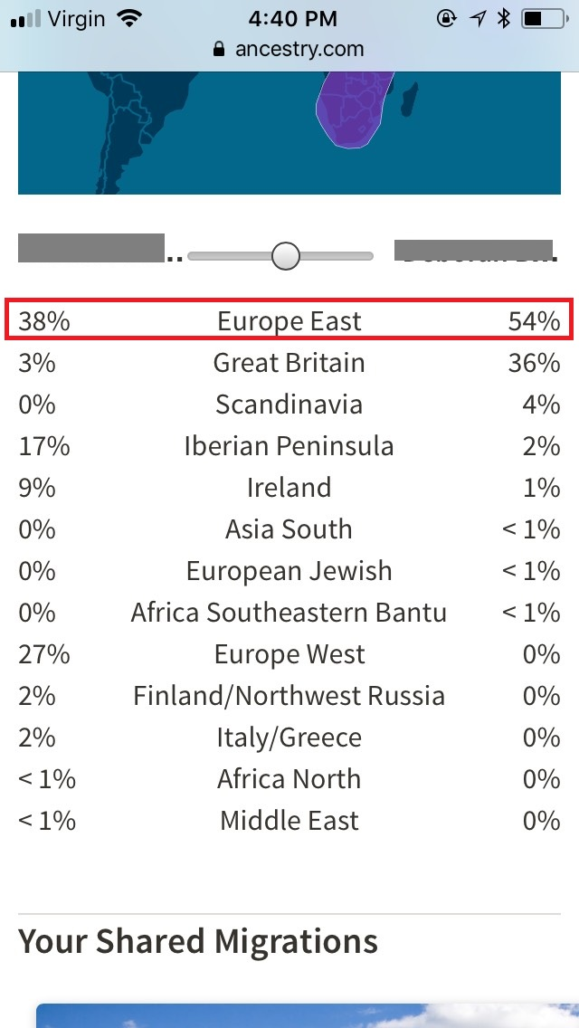 Shared ethnicity with a first cousin on the ethnicity comparison tool