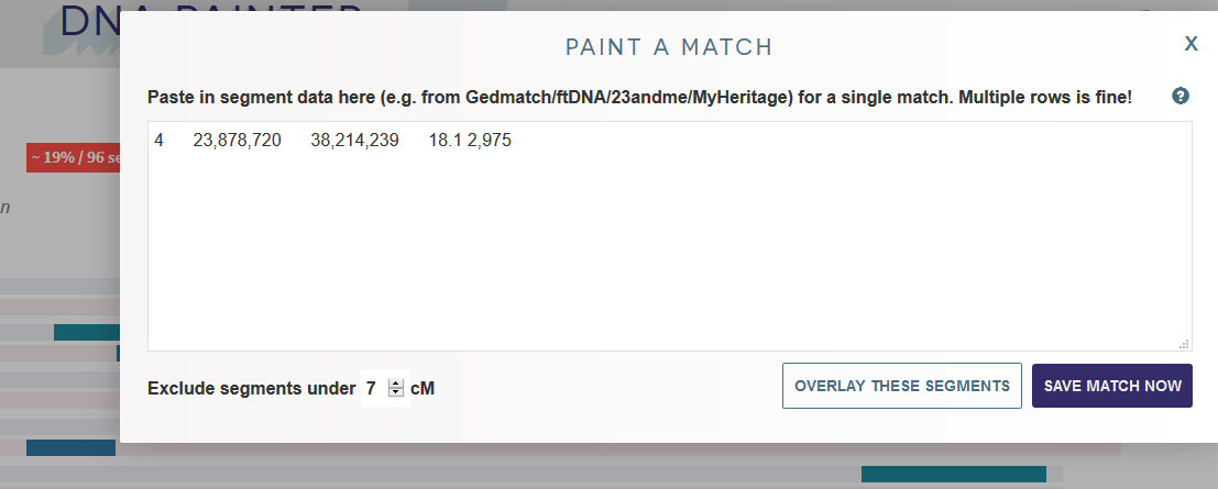 How to paint a match on DNA Painter