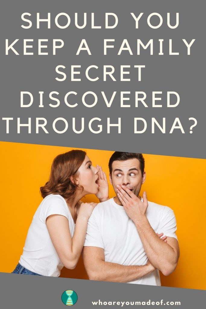 should you keep a family secret exposed by dna pinterest image with two people telling each other a secret