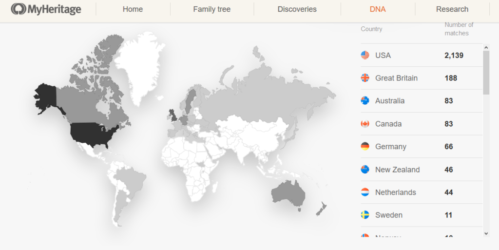 Using My Heritage DNA to find relatives in other countries