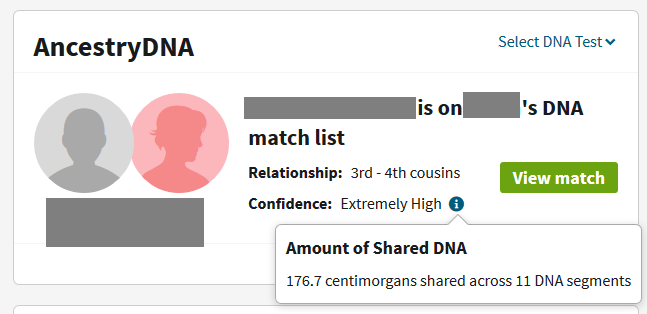 Check to how much your other relatives share with the DNA match