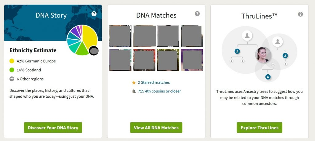 example of ancestry dna results overview, screenshot shows ethnicty estimate, DNA matches, and ThruLines