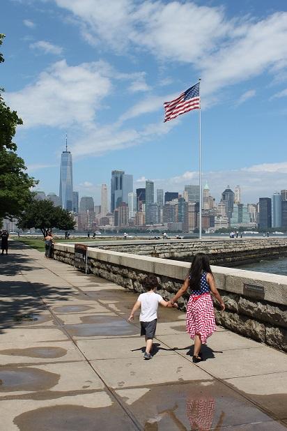 View of American flag on Ellis Island