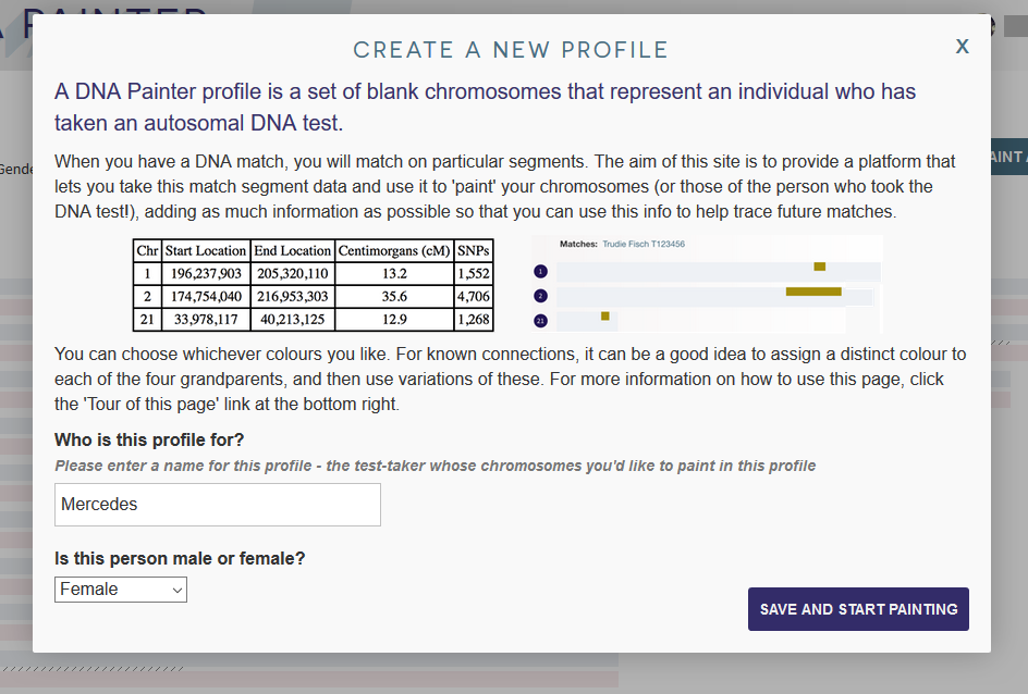 What information is required to create a new profile on DNA Painter