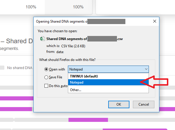 How to download shared DNA data into Notepad