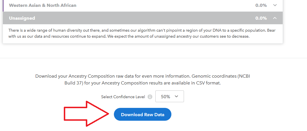 Choose confidence level for downloading 23 and me ethnicity data