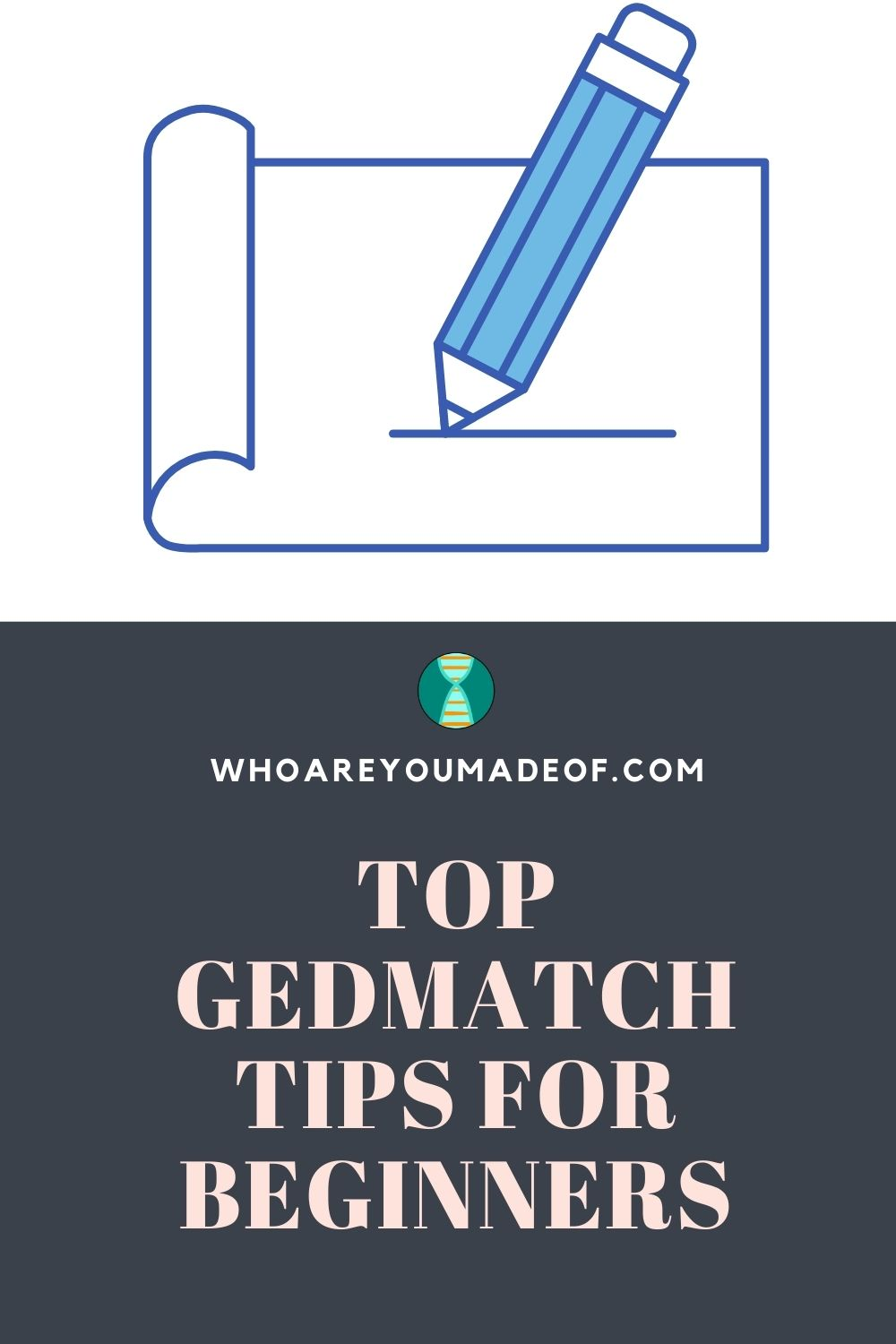 Gedmatch tutorial for beginners pinterest image with note paper and pencil