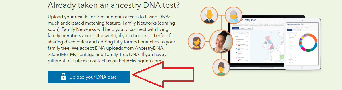 how to find the right link to upload to living dna and get ethnicity and dna matches