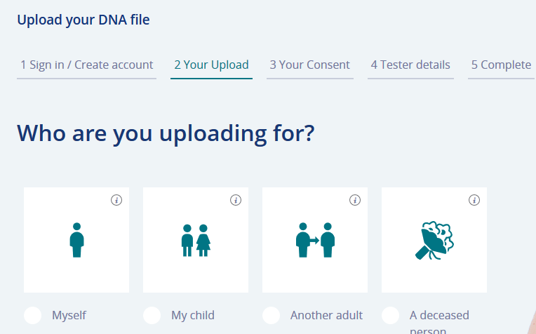 how to choose for whom you are uploading dna