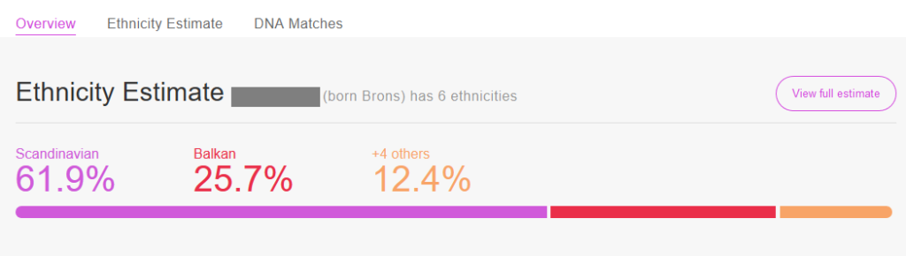 example of the DNA results overview My Heritage DNA