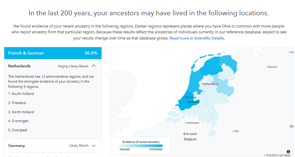 Detailed aspects of 23andMe ancestry composition