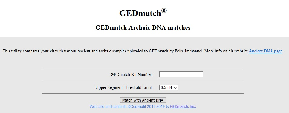 To use the archaic DNA matches tool, enter the kit number of the person for whom you would like to see archaic DNA matches