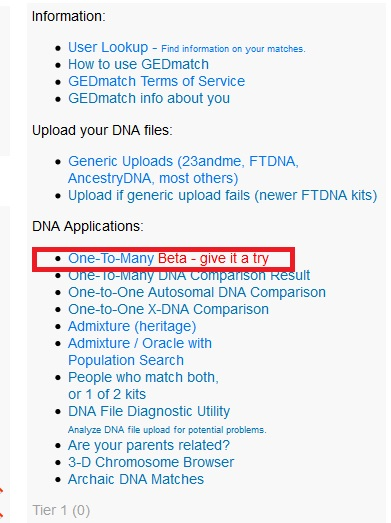 Where to click on Gedmatch to find DNA matches using the One to Many tool