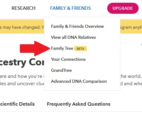 "how to access the 23andme family tree feature.  From a desktop computer, click on the family and friends tab, and then the ""family tree beta"" option"