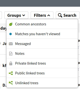 how to use filter options on Ancestry DNA match list
