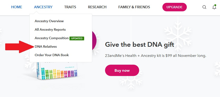 how to access dna relatives on 23andme