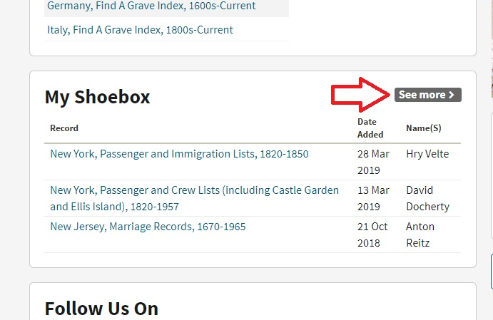 """the ancestry shoebox can be accessed from your Ancestry homepage.  You can see if by scrolling down, and it is under the heading """"My Shoebox"""""""