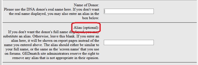 Enter your name into the top field and an alias in the second field, if you would like to display an alias instead of your real name