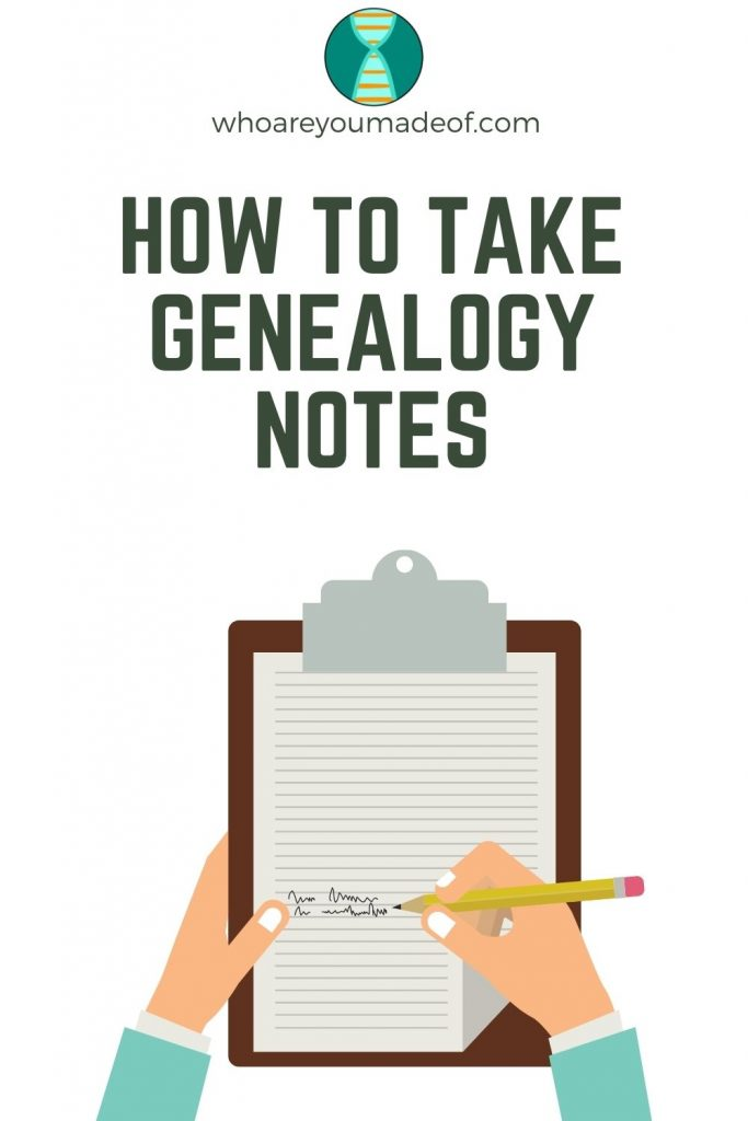 How to Take Genealogy Notes Pinterest image