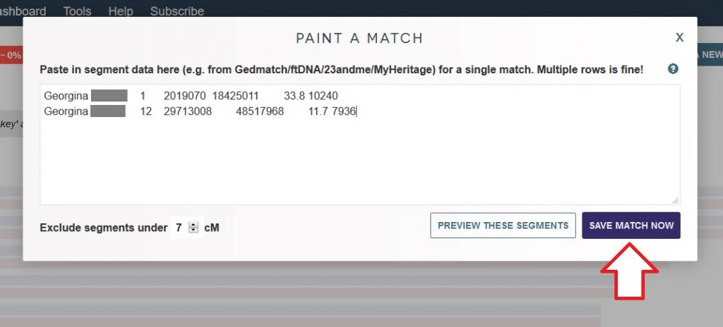 This image shows exactly where to click (SAVE MATCH NOW) in order to enter in details about your match and paint them into your chromosomes