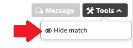 """The red arrow points to the """"Hide match"""" option on your Ancestry DNA match tools"""
