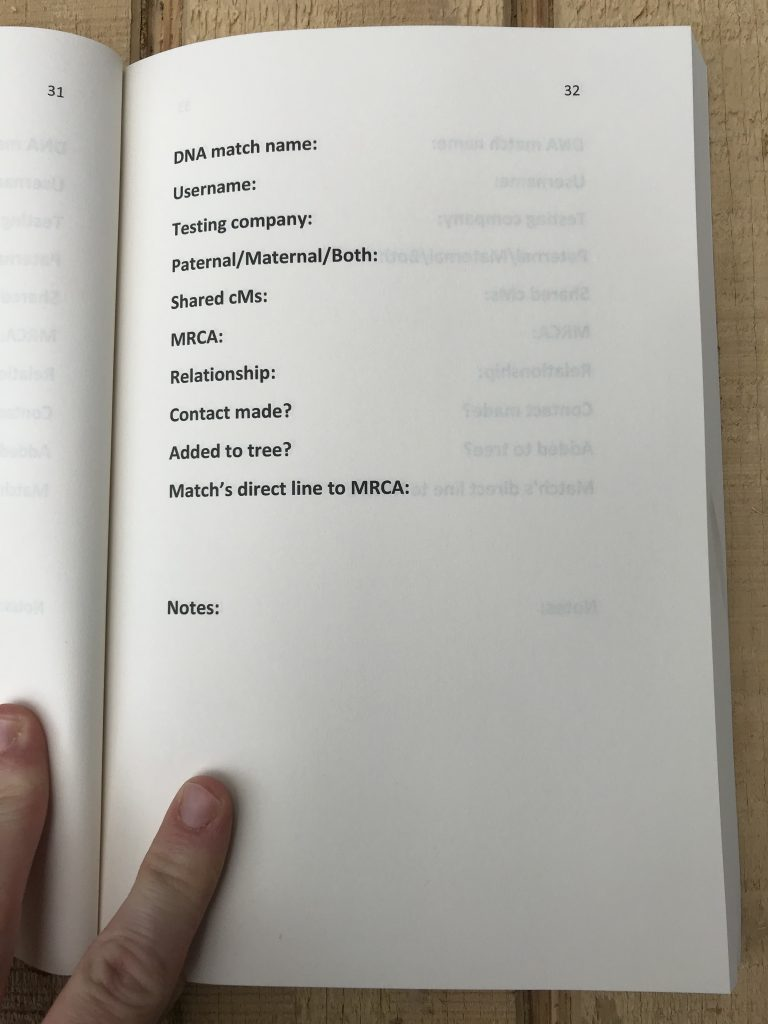 A photograph of a page of the DNA Match Organizer Journal