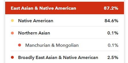 84% Native American DNA on 23andMe.  Results also show .1% Northern Asian and 2.5% Broadly East Asian and Native American