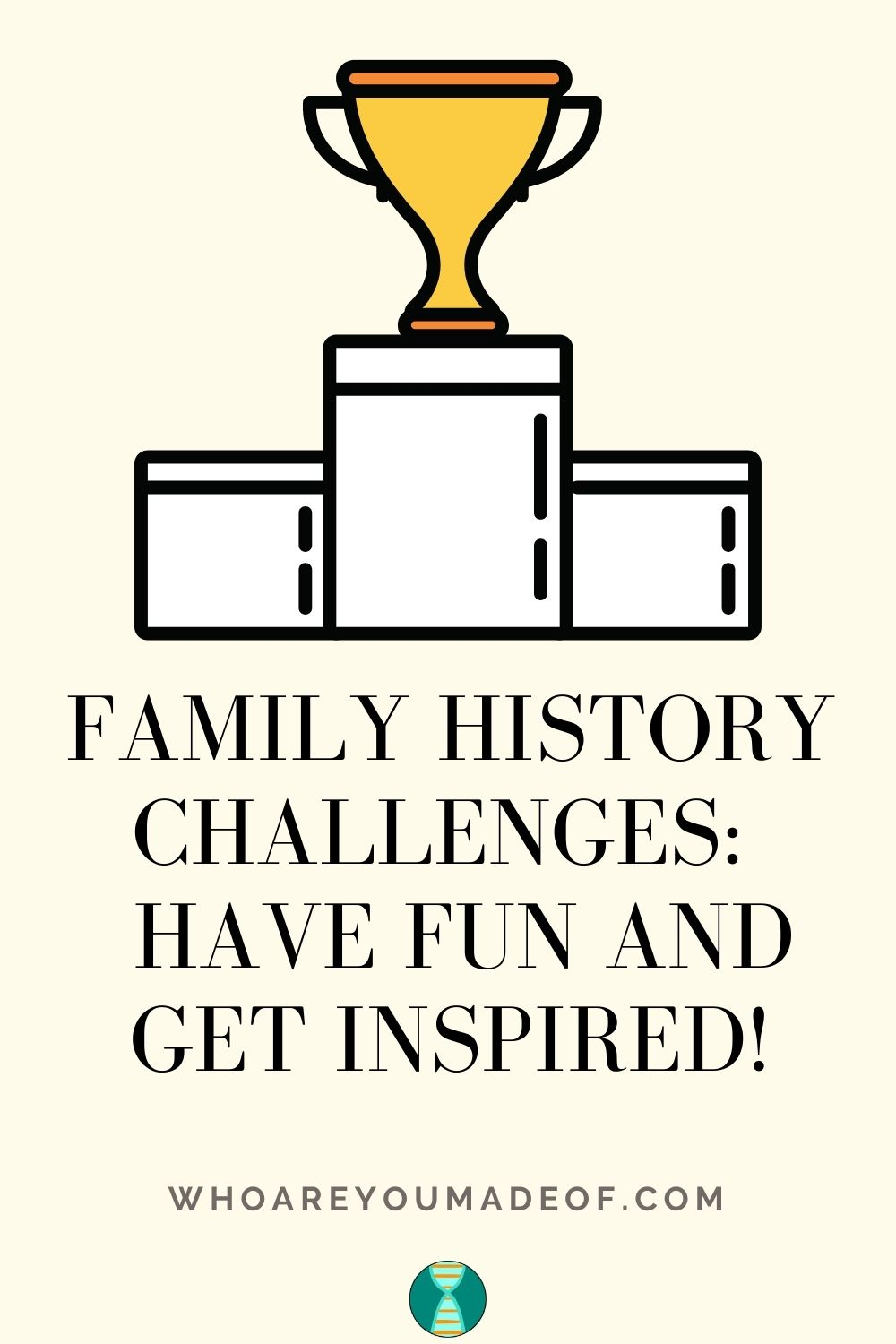 Family History Challenges Have Fun and Get Inspired!  Pinterest graphic