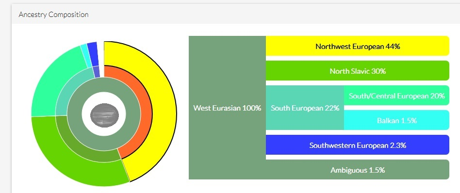 An example of DNA Land Ancestry results for a person with 100% European ancestry