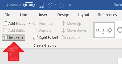 This image shows how to access the text pane for your SmartArt chart - it is on the top menu on the right left side of the screen