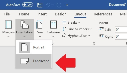 The image shows Microsoft Word options to change the orientation from Portrait to Landscape