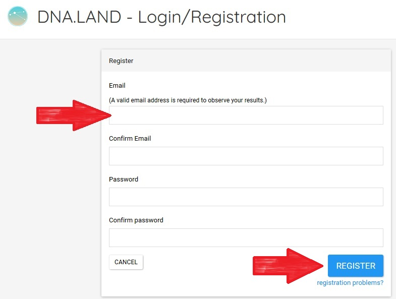 The form to fill out to register for a new DNA Land account