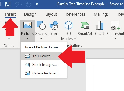 """Choose """"insert"""" then """"pictures"""" and then """"this device"""" to add a photo to your ancestor's timeline"""