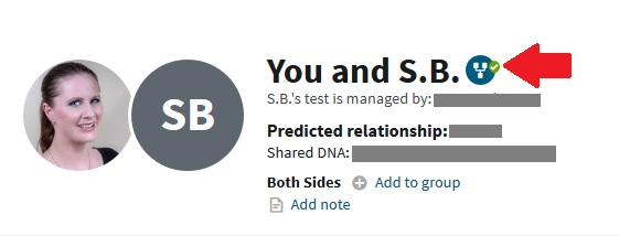 This image shows an example of a DNA match that is linked to family tree