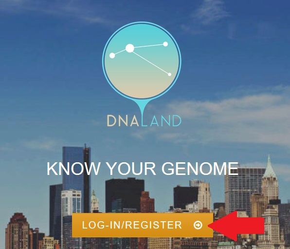 Register for a DNA Land account by visiting the home page and clicking on the Register button