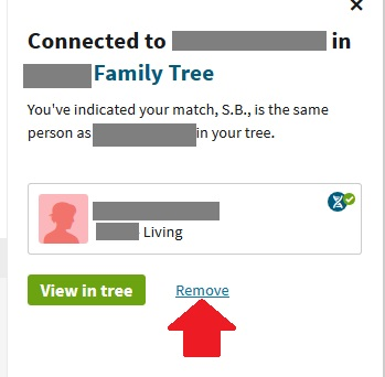 How to remove a  linked match from your family tree