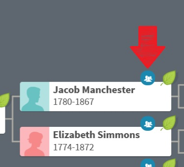 The image shows an example of the ThruLines icon visible directly from a family tree on Ancestry.  The red arrow indicates the blue ThruLines icon