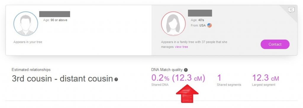 where to find shared centimorgans on my heritage dna dna match profile (it's right next to the estimated relationship).  This example shows DNA matches that share 12.3 centimorgans of DNA