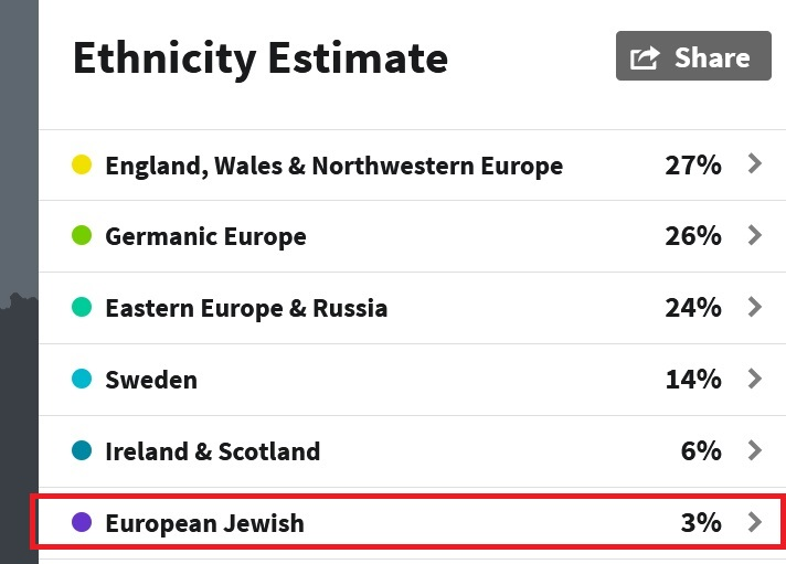 Example of Ancestry DNA results showing 3% European Jewish DNA