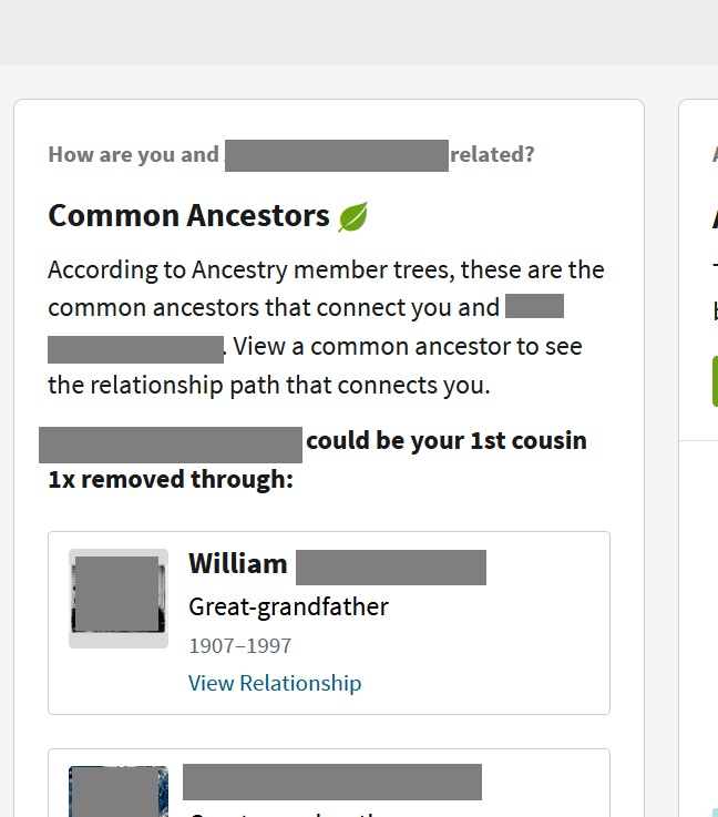 A screenshot of a Common Ancestor hint on the DNA match's profile page.  This particular DNA match is my first cousin once-removed, as indicated in the common ancestor hint in the image