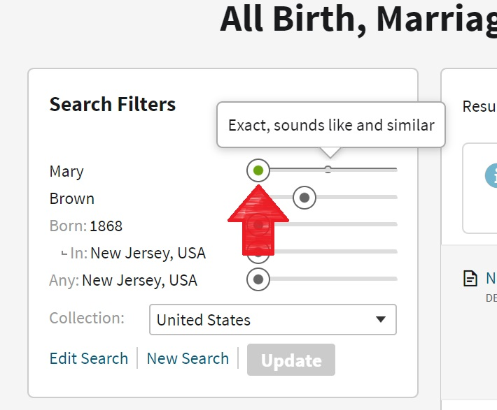 Example of sliding search filter on Ancestry, red arrow points to one of the sliders to adjust how specific search should be