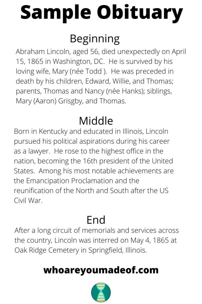 "Sample obituary for Abraham Lincoln with beginning, middle, and end sections using text from this article ""How to write an obituary for genealogy"""