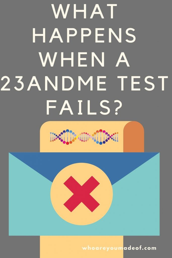 What Happens When a 23andMe Test Fails?  Pinterest Image with Letter and Envelope with an X on it