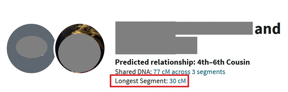 An example of two people who share 77 cMs across 3 DNA segments.  The longest segment information is found directly beneath the Shared DNA information on the DNA match profile page.  In this image, I have put a red rectangle around it for emphasis