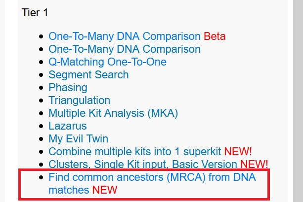 """this image shows the gedmatch tier one tools, where the """"find common ancestors mrca tool"""" is located"""